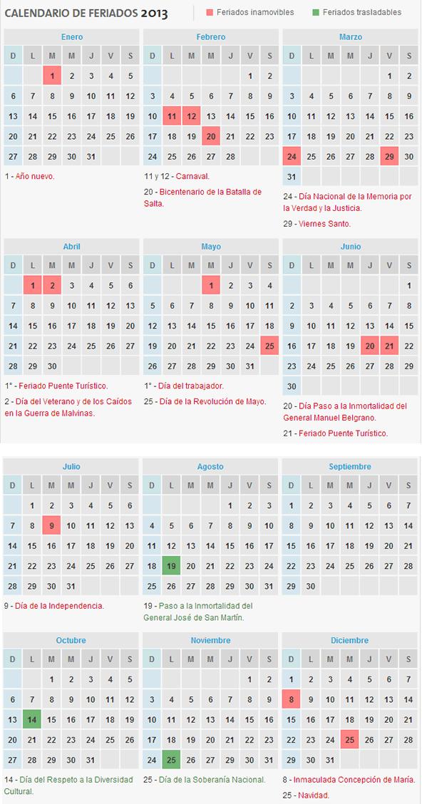 calendario feriados 2013